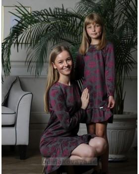 Комплект платьев на осень для мамы и дочки , арт. КМ2174