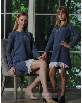Комплект платьев на осень для мамы и дочки , арт. КМ2176
